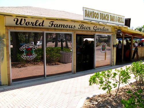 the bamboo beer garden is a landmark beach bar in johns pass village on madeira beach fl