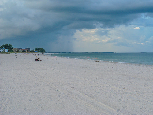 Looking south at storm clouds building on Treasure Island Beach. S