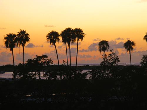 sunset view from billy's stonecrab restaurant upper bar