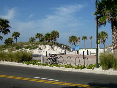 bike rack across from breakfast at crabbys