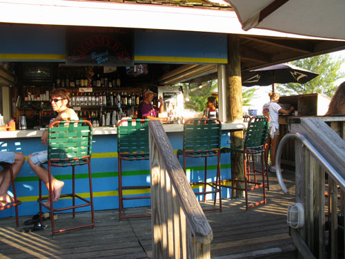 dinner at jimmy b's beach bar upper deck seating