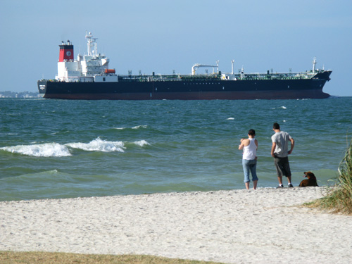 huge tankers pass by the fort desoto dog beach