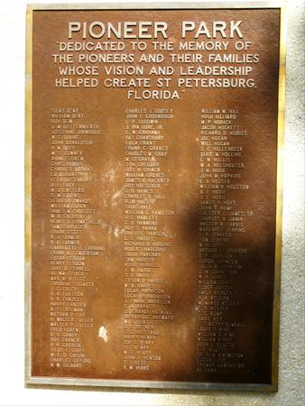 pioneer park memorial sign in st petersburg fl