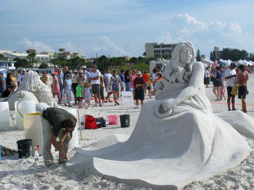Carl Jara won $1000 in the Treasure Island Sand Sculpture Contest.
