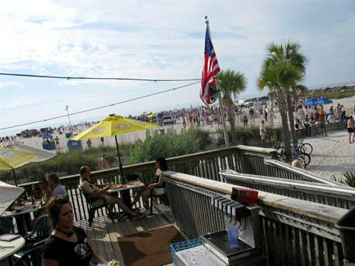 Looking from the deck at Caddies. The Sand Sculpture Contest is extremely popular.