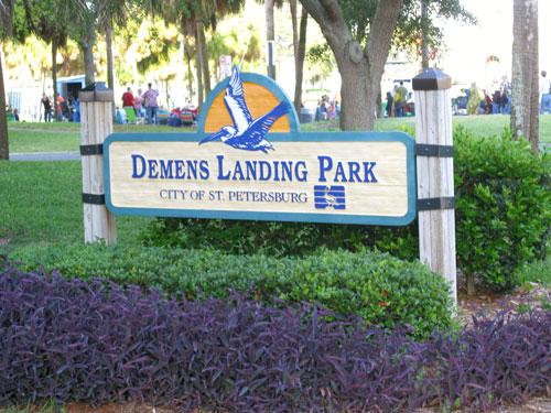 american stage in the park, st petersburg fl, demens landing park sign