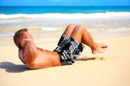 sit-ups can be part of your beach workout