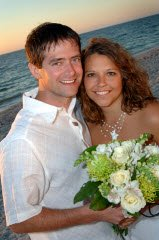 sunset beach wedding couple