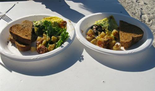breakfast at caddys on gulf blvd in treasure island florida white pizza omelet split
