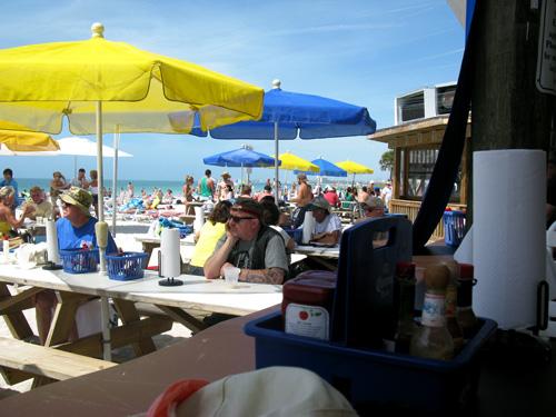 lunch at caddy's beach bar