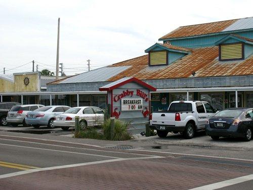 breakfast at crabby bills loading dock front of restaurant