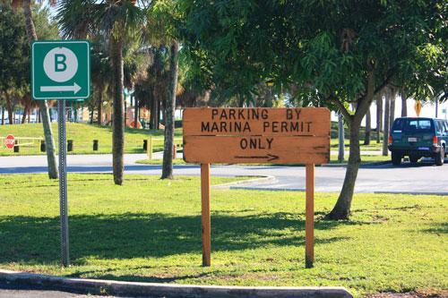 demens landing park marina parking sign in downtown st petersburg florida