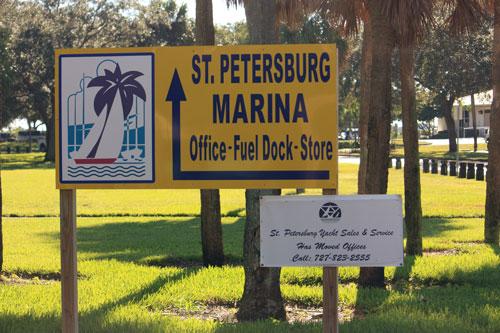 demens landing park marina sign in downtown st petersburg florida