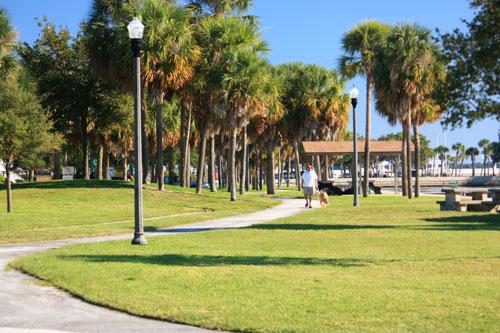 demens landing park walkway in downtown st petersburg florida