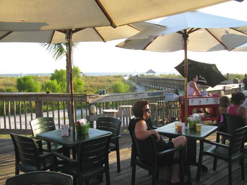 dinner at jimmy b's beach bar main deck seating