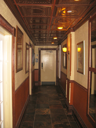 dinner at grayls hotel hallway to restrooms