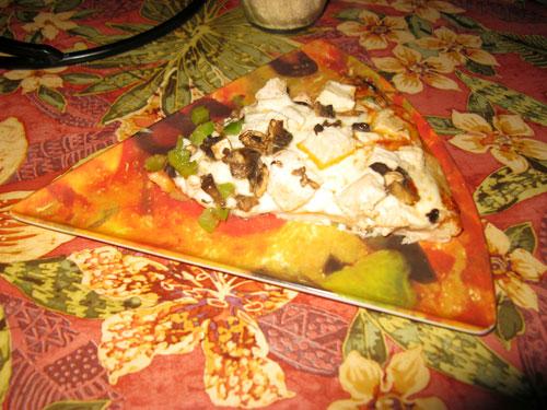 dinner at grayls hotel pizza slice