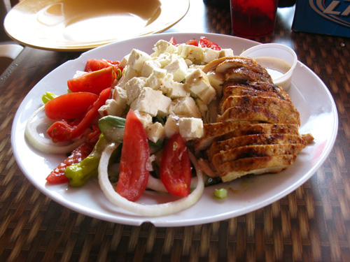 Our Caesar salad with grilled chicken at Island Outpost Restaurant.