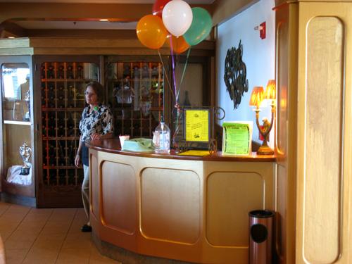 the hostess station for the mangos restaurant brunch on north redington beach fl
