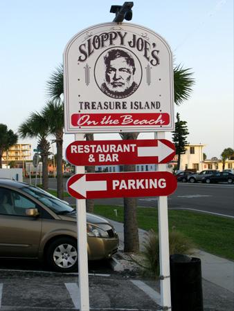 sloppy joes direction sign on gulf blvd