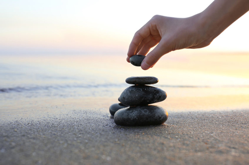 Stacking rocks on the Florida beach is a way of communicating spiritually.