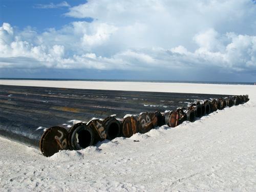 treasure island beach renourishment flexible pipes
