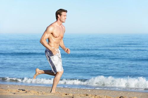 Running on a San Diego CA beach.