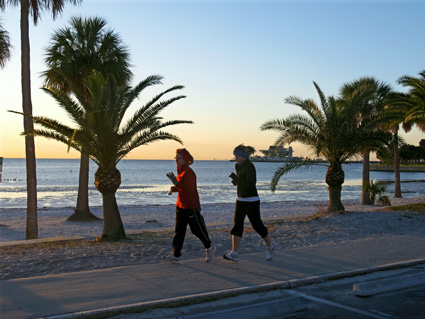 beach workout on a cold january morning